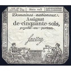 Assignat 26a - 50 sols - 4 janvier 1792 - Série 703 - Etat : TTB+