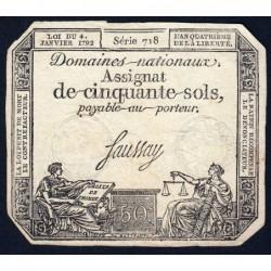Assignat 26a - 50 sols - 4 janvier 1792 - Série 718 - Etat : TB+