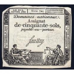 Assignat 26a - 50 sols - 4 janvier 1792 - Série 724 - Etat : TTB+