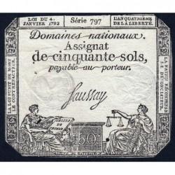 Assignat 26a - 50 sols - 4 janvier 1792 - Série 797 - Etat : TB+