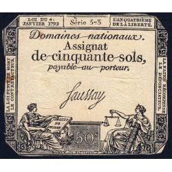 Assignat 26a - 50 sols - 4 janvier 1792 - Série 573 - Etat : TB