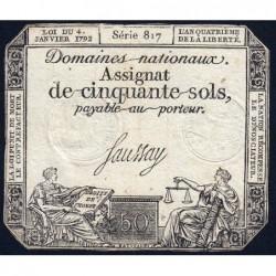 Assignat 26a - 50 sols - 4 janvier 1792 - Série 817 - Etat : TB+