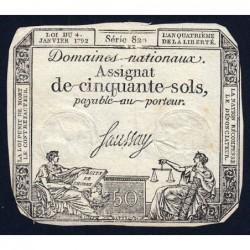 Assignat 26a - 50 sols - 4 janvier 1792 - Série 820 - Etat : TB
