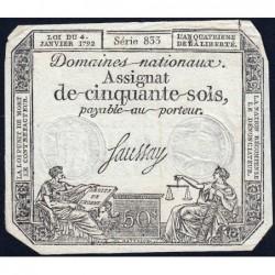 Assignat 26a - 50 sols - 4 janvier 1792 - Série 833 - Etat : TB+