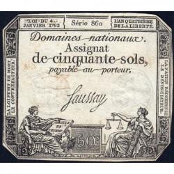 Assignat 26a - 50 sols - 4 janvier 1792 - Série 860 - Etat : TB