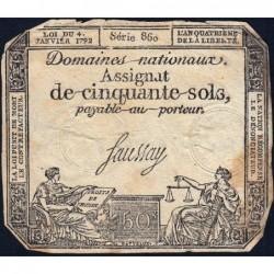 Assignat 26a - 50 sols - 4 janvier 1792 - Série 860 - Etat : B