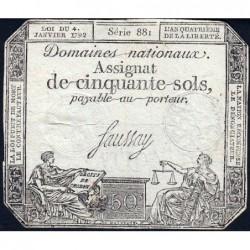 Assignat 26a - 50 sols - 4 janvier 1792 - Série 881 - Etat : TB+