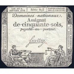 Assignat 26a - 50 sols - 4 janvier 1792 - Série 895 - Etat : TTB