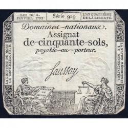 Assignat 26a - 50 sols - 4 janvier 1792 - Série 929 - Etat : TB+