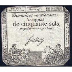 Assignat 26a - 50 sols - 4 janvier 1792 - Série 931 - Etat : TB+