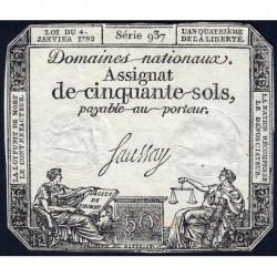 Assignat 26a - 50 sols - 4 janvier 1792 - Série 937 - Etat : TB+