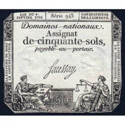 Assignat 26a - 50 sols - 4 janvier 1792 - Série 943 - Etat : TB+