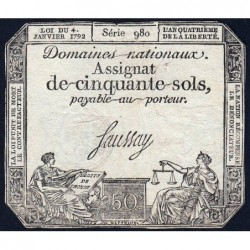 Assignat 26a - 50 sols - 4 janvier 1792 - Série 980 - Etat : TB+