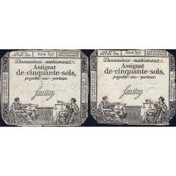Assignat 26a_v1a + 26a - 50 sols - 4 janvier 1792 - Série 393 - Etat : TB