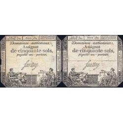 Assignat 26a_v1a + 26a - 50 sols - 4 janvier 1792 - Série 489 - Etat : B+ / B