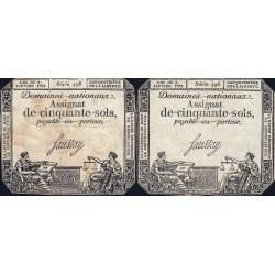Assignat 26a_v1a + 26a - 50 sols - 4 janvier 1792 - Série 498 - Etat : TB / B+