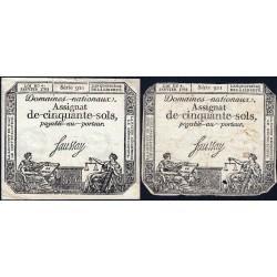 Assignat 26a_v1a + 26a - 50 sols - 4 janvier 1792 - Série 921 - Etat : TB / TTB