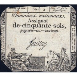 Assignat 42a - 50 sols - 23 mai 1793 - Série 3 - Filigrane royal - Etat : B