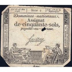 Assignat 42a - 50 sols - 23 mai 1793 - Série 7 - Filigrane royal - Etat : B+