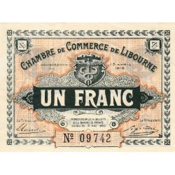 Libourne - Pirot 72-4 - 1 franc - Sans série - 13/04/1915 - Etat : SUP