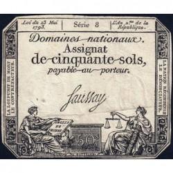 Assignat 42a - 50 sols - 23 mai 1793 - Série 8 - Filigrane royal - Etat : TB+