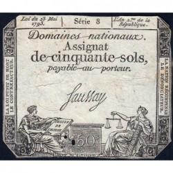 Assignat 42a - 50 sols - 23 mai 1793 - Série 8 - Filigrane royal - Etat : TB