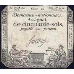 Assignat 42a - 50 sols - 23 mai 1793 - Série 10 - Filigrane royal - Etat : TB-