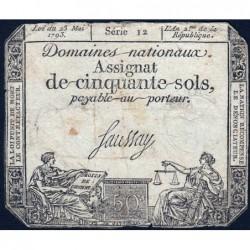 Assignat 42a - 50 sols - 23 mai 1793 - Série 12 - Filigrane royal - Etat : TB-