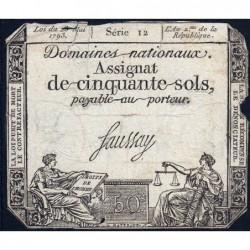 Assignat 42a - 50 sols - 23 mai 1793 - Série 12 - Filigrane royal - Etat : B+