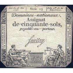 Assignat 42a - 50 sols - 23 mai 1793 - Série 13 - Filigrane royal - Etat : TB