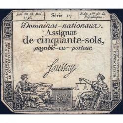 Assignat 42a - 50 sols - 23 mai 1793 - Série 17 - Filigrane royal - Etat : TB-