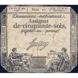 Assignat 42a - 50 sols - 23 mai 1793 - Série 17 - Filigrane royal - Etat : B+