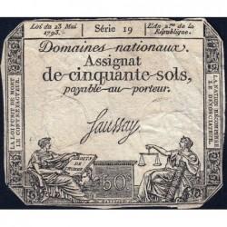 Assignat 42a - 50 sols - 23 mai 1793 - Série 19 - Filigrane royal - Etat : TB