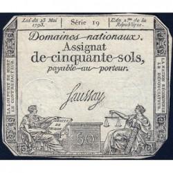 Assignat 42a - 50 sols - 23 mai 1793 - Série 19 - Filigrane royal - Etat : TTB