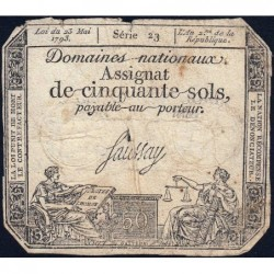 Assignat 42a - 50 sols - 23 mai 1793 - Série 23 - Filigrane royal - Etat : B+