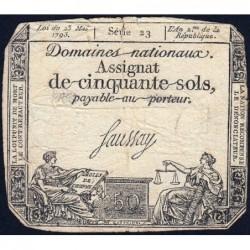 Assignat 42a - 50 sols - 23 mai 1793 - Série 23 - Filigrane royal - Etat : TB-
