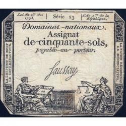 Assignat 42a - 50 sols - 23 mai 1793 - Série 23 - Filigrane royal - Etat : TB
