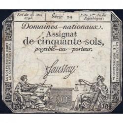 Assignat 42a - 50 sols - 23 mai 1793 - Série 24 - Filigrane royal - Etat : B