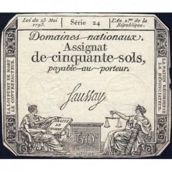 Assignat 42a - 50 sols - 23 mai 1793 - Série 24 - Filigrane royal - Etat : TTB