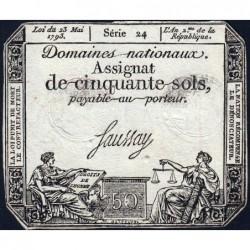 Assignat 42a - 50 sols - 23 mai 1793 - Série 24 - Filigrane royal - Etat : TTB+