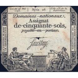 Assignat 42a - 50 sols - 23 mai 1793 - Série 26 - Filigrane royal - Etat : B-