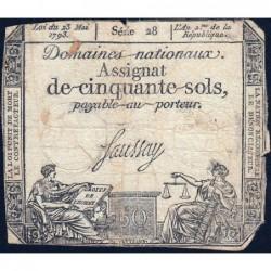 Assignat 42a - 50 sols - 23 mai 1793 - Série 28 - Filigrane royal - Etat : B-