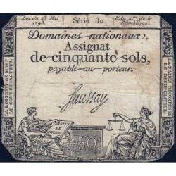 Assignat 42a - 50 sols - 23 mai 1793 - Série 30 - Filigrane royal - Etat : B