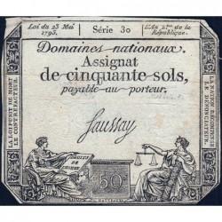 Assignat 42a - 50 sols - 23 mai 1793 - Série 30 - Filigrane royal - Etat : TB