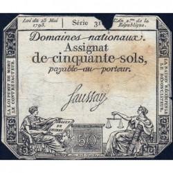 Assignat 42a - 50 sols - 23 mai 1793 - Série 31 - Filigrane royal - Etat : AB