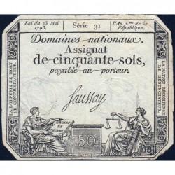 Assignat 42a - 50 sols - 23 mai 1793 - Série 31 - Filigrane royal - Etat : TB+