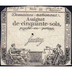 Assignat 42a - 50 sols - 23 mai 1793 - Série 33 - Filigrane royal - Etat : TB-