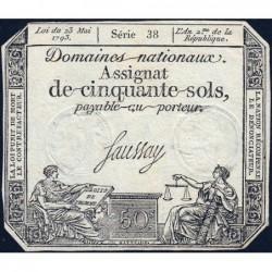 Assignat 42a - 50 sols - 23 mai 1793 - Série 38 - Filigrane royal - Etat : TTB+