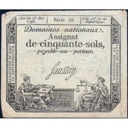 Assignat 42a - 50 sols - 23 mai 1793 - Série 38 - Filigrane royal - Etat : TTB