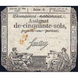 Assignat 42a_v1 - 50 sols - 23 mai 1793 - Série 6 - Filigrane royal - Variété - Etat : B+